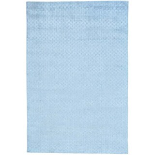 Blue Tone on Tone Hand Loomed Wool and Viscose from Bamboo Oriental Rug (6' x 9')