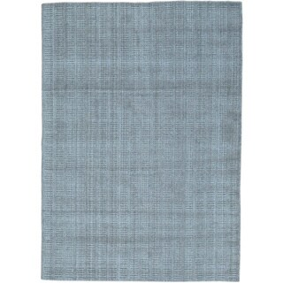Grey Wool and Viscose from Bamboo Tone on Tone Hand Loomed Rug (5' x 7'1)