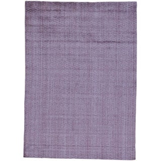 Purple Wool and Viscose from Bamboo Silk Tone on Tone Purple Hand Loomed Rug (5' x 7')