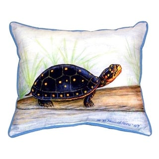 Betsy Drake Multi-color Polyester 16 inch x 20 inch Indoor/Outdoor Spotted Turtle Throw Pillow