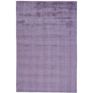 Purple Hand Loomed Tone on Tone Purple Wool and Viscose from Bamboo Silk Rug (6' x 9')