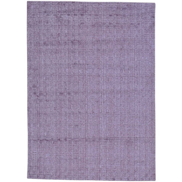 Purple Tone on Tone Purple Wool and Viscose from Bamboo Silk Hand Loomed Rug (5' x 7')