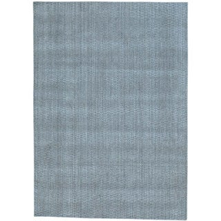 Grey Wool and Viscose from Bamboo Silk Tone on Tone Hand Loomed Rug (5' x 7')