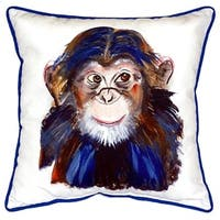Chimpanzee Polyester 18-inch x 18-inch Indoor/Outdoor Throw Pillow