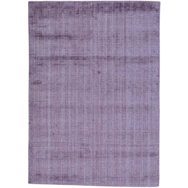 Purple Purple Hand Loomed Wool and Viscose from Bamboo Silk Tone on Tone Rug - 5' x 7'