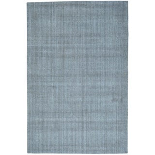 Grey Hand Loomed Wool and Viscose from Bamboo Tone on Tone Rug (6' x 9'1)