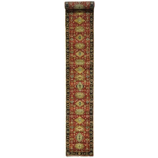 Red x L Runner Hand Knotted Red Karajeh Pure Wool Rug (2'6 x 19'10)