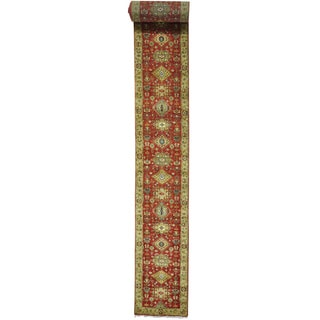 Red Red Karajeh Pure Wool x L Runner Hand Knotted Oriental Rug (2'5 x 26'1)