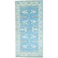 Blue Wide Gallery Sky Blue Oushak Hand Knotted Oriental Rug - 9'8 x 19'10