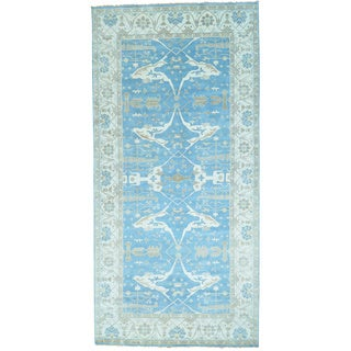 Blue Wide Gallery Sky Blue Oushak Hand Knotted Oriental Rug (9'8 x 19'10)