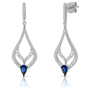 Kabella Blue and White Cubic Zirconia Sterling Silver Pear Shape Dangling Earrings
