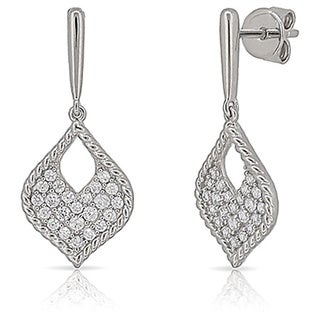 Kabella Sterling Silver Cubic Zirconia Teardrop Earrings