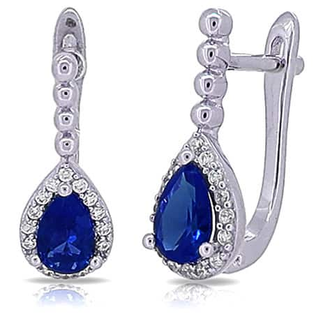 Kabella Sterling Silver Blue and White Cubic Zirconia Teardrop Earrings