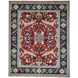 Red Heriz All Over Design Hand Knotted Pure Wool Oriental Rug (8' x 10')