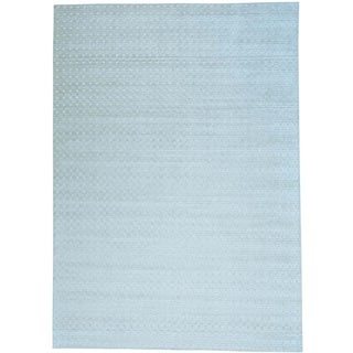 Grey Tone on Tone Wool and Viscose from Bamboo Silk Hand Loomed Oriental Rug (10' x 14')