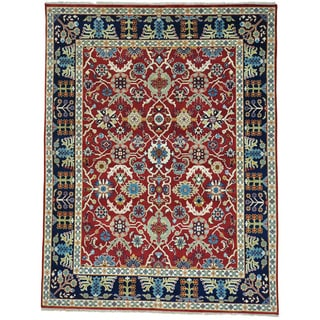 Red Handmade Pure Wool All Over Design Mahal Oriental Rug (7'9 x 10'1)