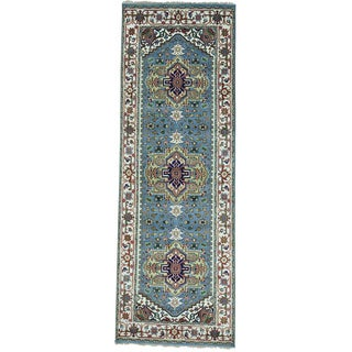 Blue Handmade Wide Runner Pure Wool All Over Design Heriz Rug (4'1 x 12')