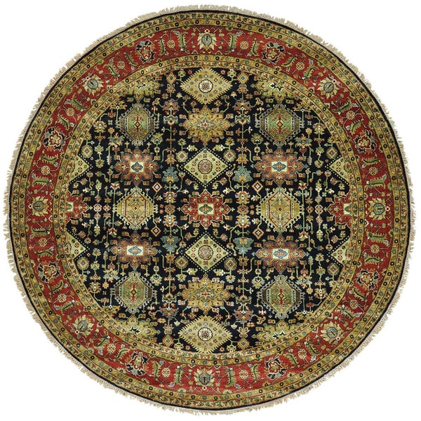 Round Wool Persian Rug: Shop Black Hand Knotted Round Karajeh 100 Percent Wool