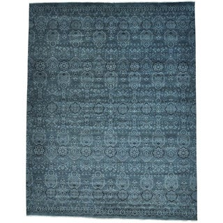 Grey Oversize Tone On Tone Geometric Agra Hand Knotted Rug (12' x 15'3)