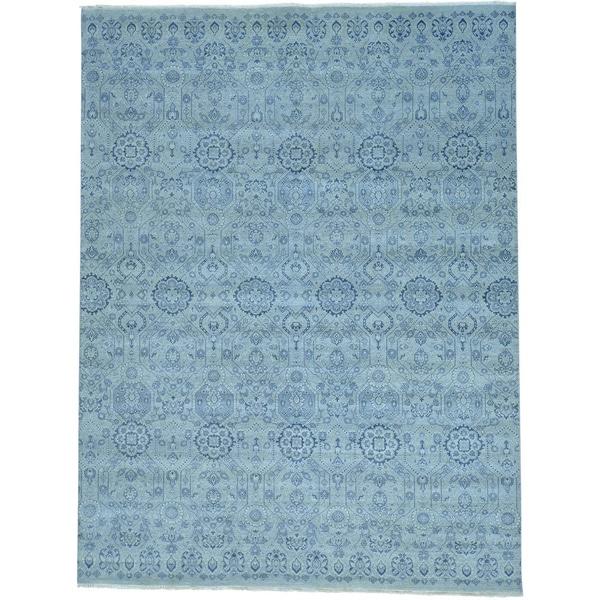 Grey Tone On Tone Geometric Grey Agra Handmade Oriental Rug