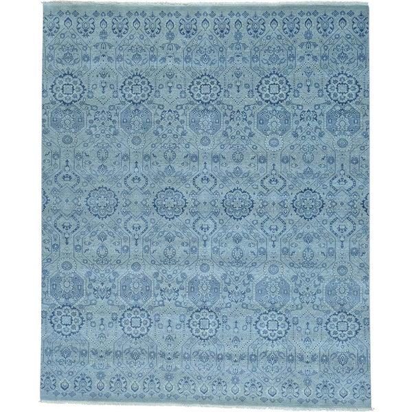 Grey Tone On Tone Grey Geometric Agra Handmade Oriental Rug (8' x 10')