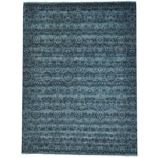 Grey Tone On Tone Geometric Agra Grey Handmade Oriental Rug (9' x 12')