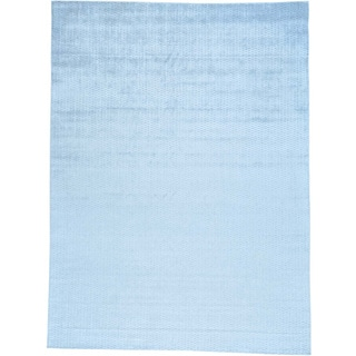 Blue Wool and Viscose from Bamboo Hand Loomed Tone on Tone Oriental Rug (9' x 12')
