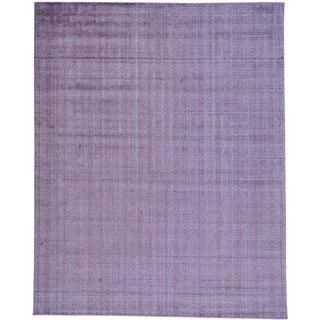 Purple Purple Wool and Viscose from Bamboo Silk Hand Loomed Tone on Tone Rug (8' x 10')