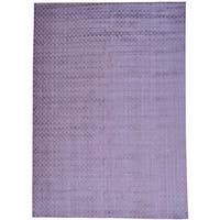 Purple Wool and Viscose from Bamboo Silk Hand Loomed Tone on Tone Rug (10'1 x 14'3)