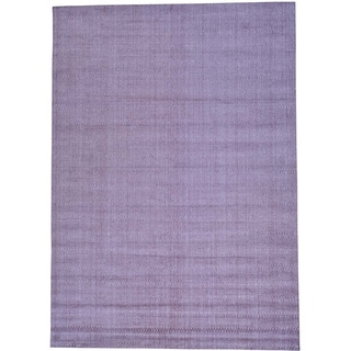 Purple Wool and Viscose from Bamboo Silk Tone on Tone Hand Loomed Rug (10'1 x 14'2)