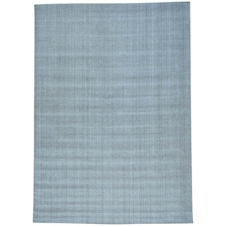 Grey Wool and Viscose from Bamboo Silk Tone on Tone Hand Loomed Rug (10'1 x 14'2)