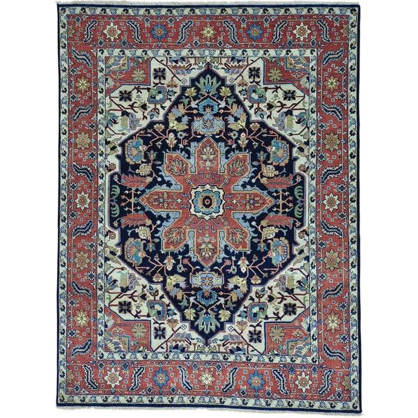Hand Knotted Heriz Wool Fine Persian Oriental Area Rug: Shop Blue Hand Knotted Serapi Heriz 100 Percent Wool
