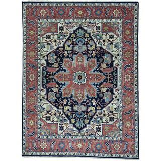 Blue Hand Knotted Serapi Heriz 100 Percent Wool Oriental Rug (7'7 x 10')