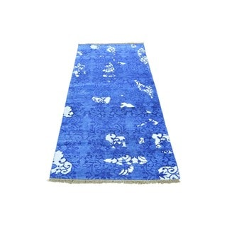 Blue Runner Denim Blue Modern Tone on Tone Viscose from Bamboo Silk Rug (2'5 x 5'9)
