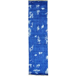 Blue Viscose from Bamboo Silk Modern Tone on Tone Runner Handmade Rug (2'6 x 9'7)