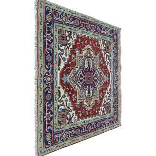 Red Serapi Heriz Square Pure Wool Hand Knotted Oriental Rug (4' x 4')