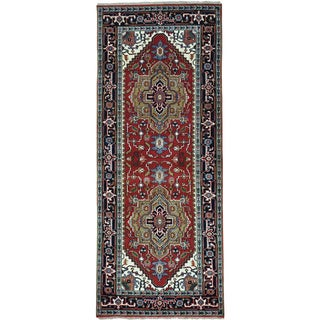 Red Wide Runner Serapi Heriz Pure Wool Hand Knotted Oriental Rug (4' x 10')