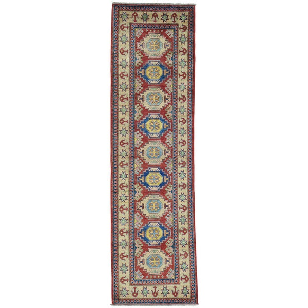 Red Red Kazak Runner Pure Wool Hand Knotted Oriental Rug - 2'9 x 9'10
