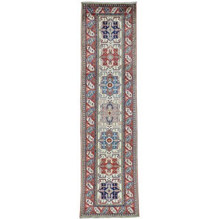 Ivory Ivory Super Kazak Runner Pure Wool Hand Knotted Rug (2'5 x 9'4)