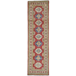 Red Pure Wool Tribal Design Kazak Runner Hand Knotted Rug (2'8 x 9'7)