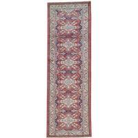 Red Tribal Design Super Kazak Runner Hand Knotted Oriental Rug