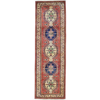 Red Super Kazak Pure Wool Runner Hand Knotted Oriental Rug (2'9 x 8'9)