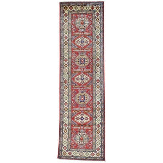 Red Runner Super Kazak Red Pure Wool Hand Knotted Oriental Rug (2'7 x 9'1)