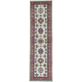 Ivory Tribal Design Super Kazak Hand Knotted Runner Oriental Rug (2'9 x 10')