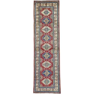 Red Hand Knotted Runner Super Kazak Pure Wool Oriental Rug (2'7 x 9'3)