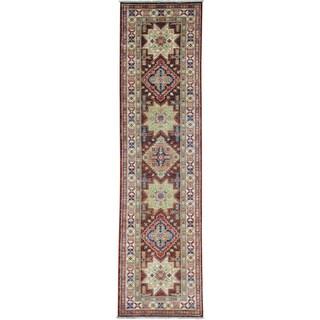 Brown Chocolate Brown Super Kazak Runner Pure Wool Oriental Rug (2'7 x 10')
