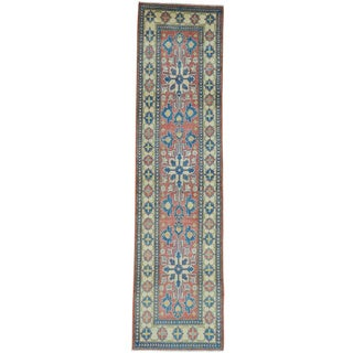 Red Hand Knotted Red Kazak Runner Tribal Design Oriental Rug (2'7 x 10')