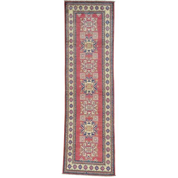 Red Geometric Design Kazak Hand Knotted Runner Oriental Rug