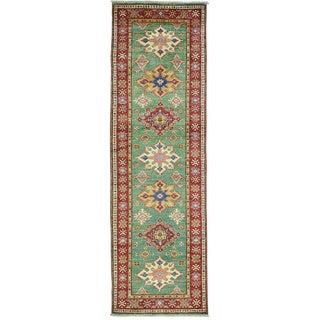 Green Super Kazak Runner Hand Knotted Pure Wool Oriental Rug (2'7 x 8'5)