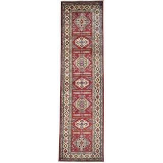 Red Hand Knotted Pure Wool Super Kazak Runner Oriental Rug (2'10 x 10'6)